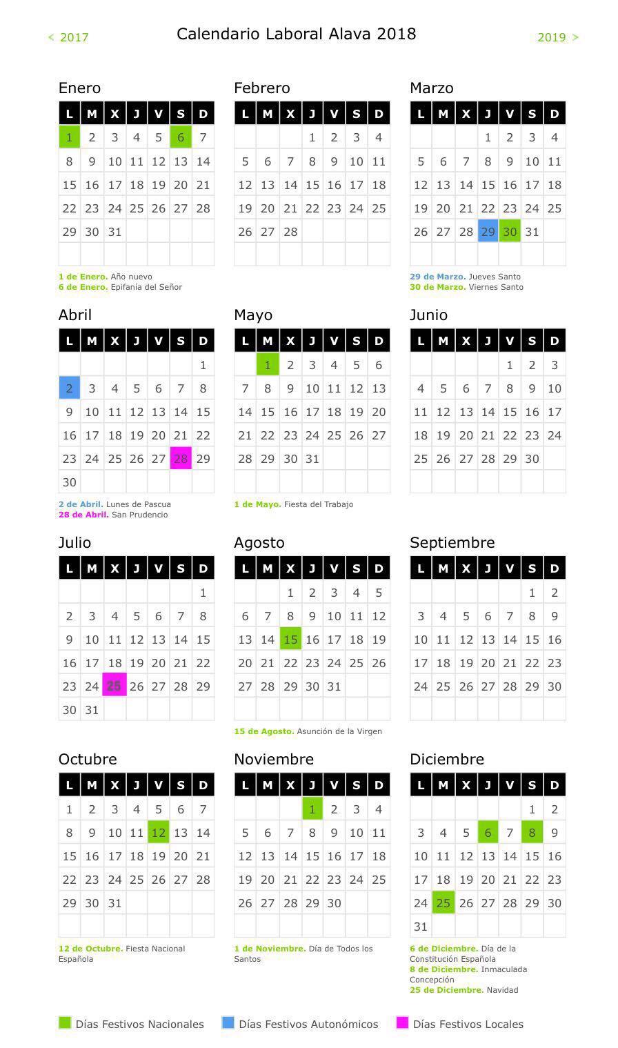 Calendario 2018 Laboral Madrid