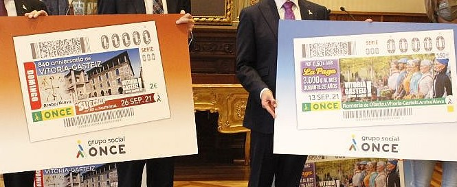 La ONCE venderá 2 cupones sobre Vitoria